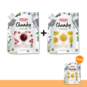 PROMOTION :  ANDROS FRUIT CHUNKY, MANGO + ANDROS FRUIT CHUNKY, RASPBERRY